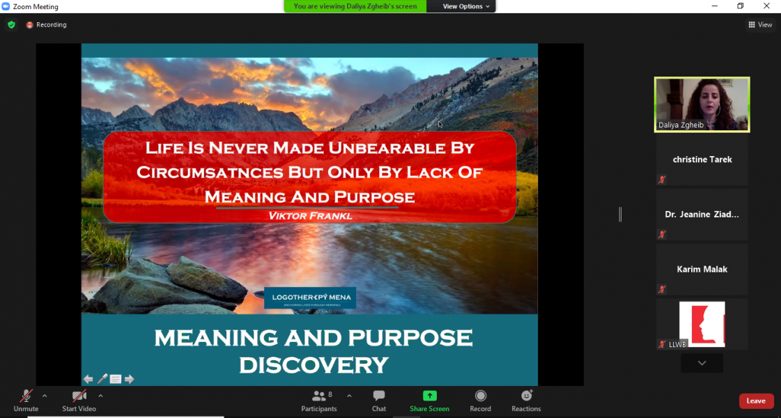 LLWB and LOGOTHERAPY MENA… What happened on the 2nd Webinar?